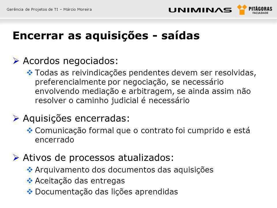 Gerência de Projetos de TI – Márcio Moreira Encerrar as aquisições - saídas Acordos negociados: Todas as reivindicações pendentes devem ser resolvidas