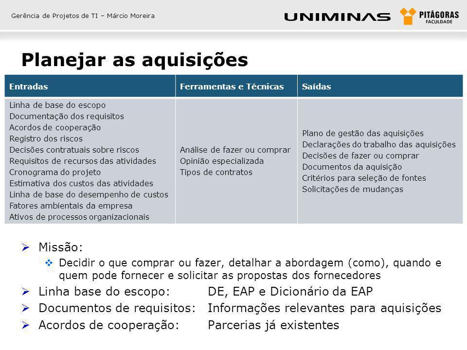 Gerência de Projetos de TI – Márcio Moreira Planejar as aquisições - entradas Registro dos riscos: Riscos que demandam alguma aquisição Decisões contratuais sobre riscos: Seguros, garantias, serviços, etc.