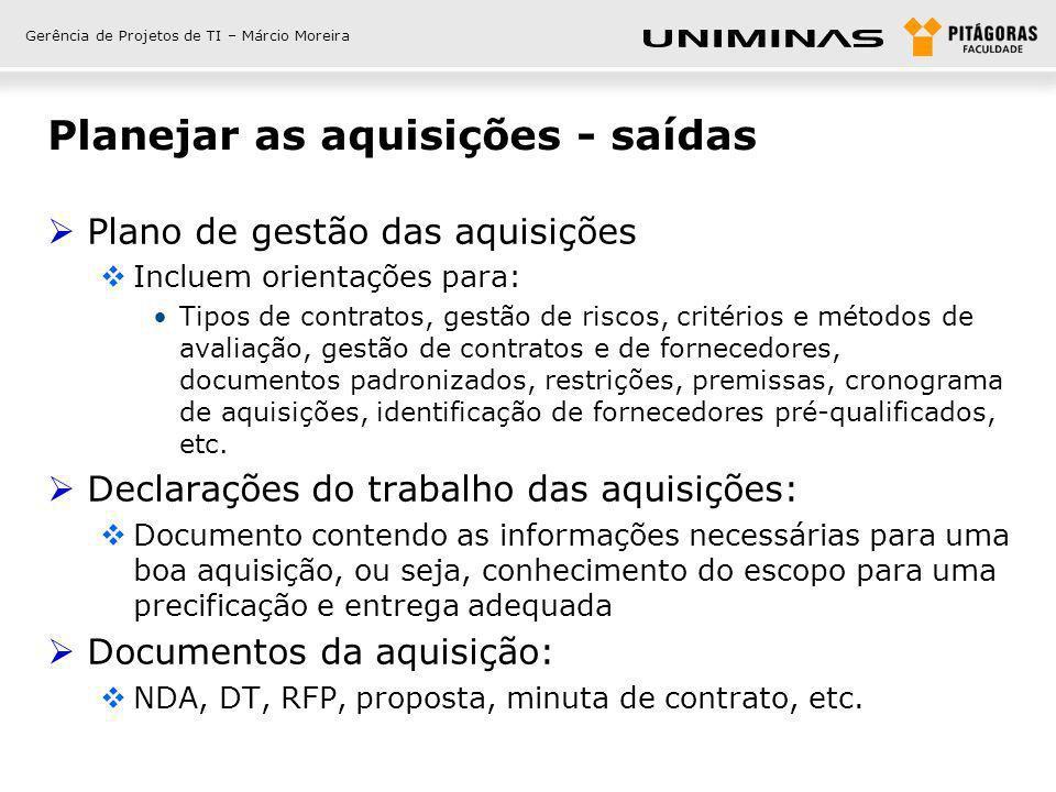 Gerência de Projetos de TI – Márcio Moreira Planejar as aquisições - saídas Plano de gestão das aquisições Incluem orientações para: Tipos de contrato
