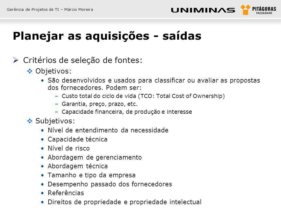 Gerência de Projetos de TI – Márcio Moreira Planejar as aquisições - saídas Critérios de seleção de fontes: Objetivos: São desenvolvidos e usados para