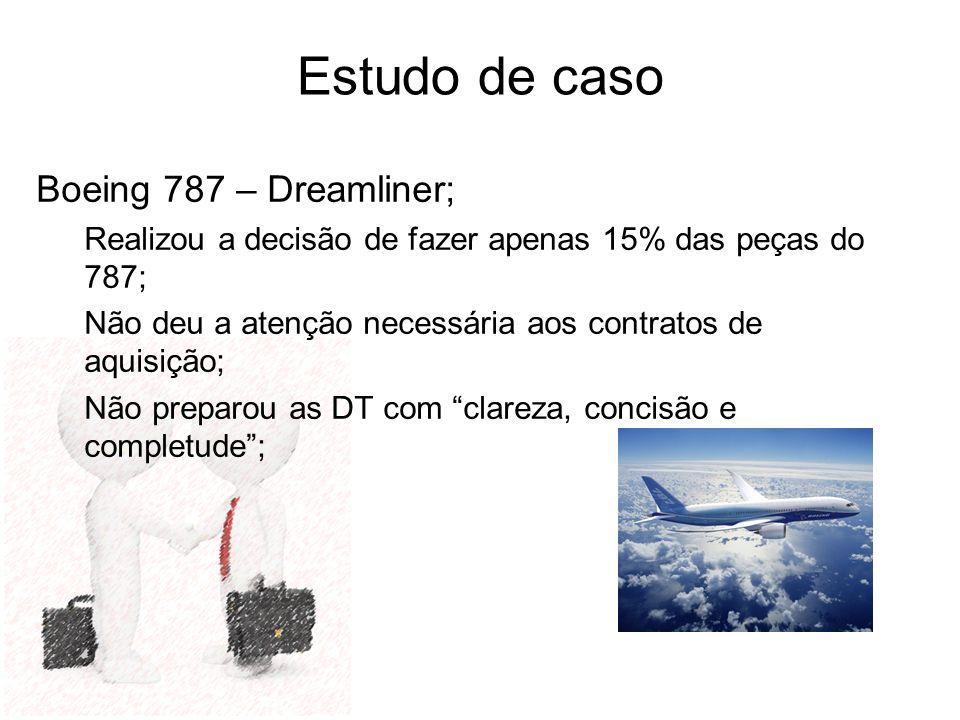 Estudo de caso Boeing 787 – Dreamliner; Realizou a decisão de fazer apenas 15% das peças do 787; Não deu a atenção necessária aos contratos de aquisiç