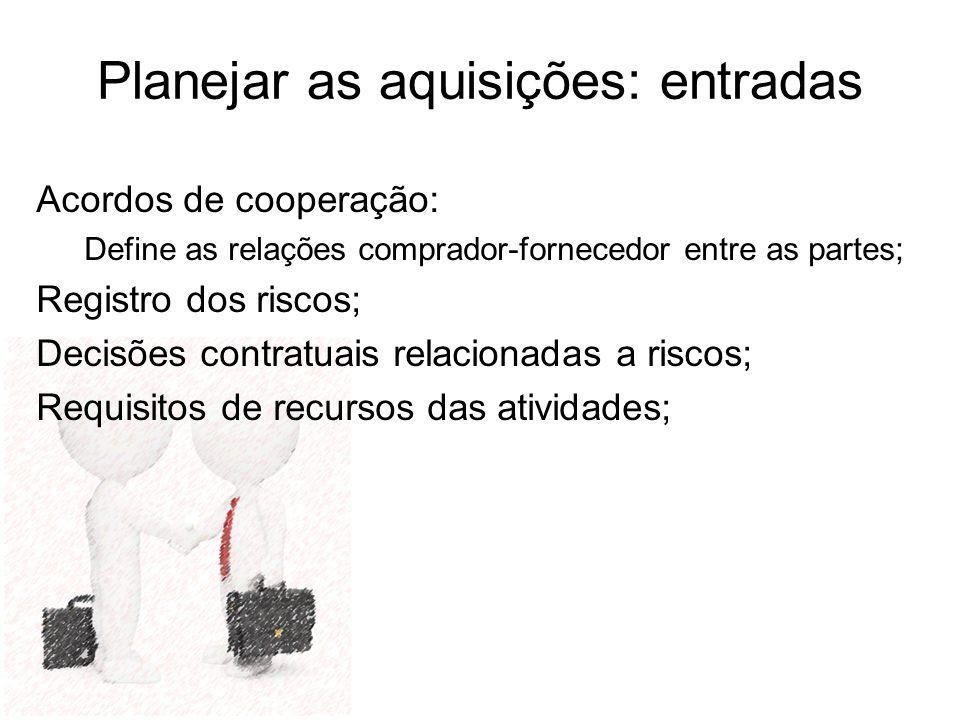Planejar as aquisições: entradas Acordos de cooperação: Define as relações comprador-fornecedor entre as partes; Registro dos riscos; Decisões contrat