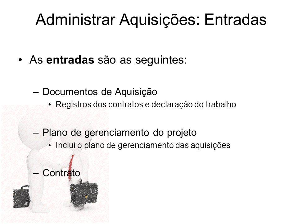 As entradas são as seguintes: –Documentos de Aquisição Registros dos contratos e declaração do trabalho –Plano de gerenciamento do projeto Inclui o pl