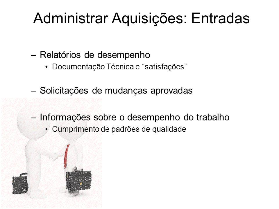 –Relatórios de desempenho Documentação Técnica e satisfações –Solicitações de mudanças aprovadas –Informações sobre o desempenho do trabalho Cumprimen