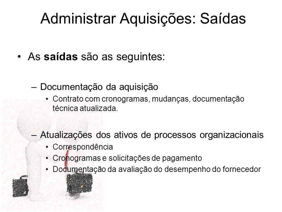 Administrar Aquisições: Saídas As saídas são as seguintes: –Documentação da aquisição Contrato com cronogramas, mudanças, documentação técnica atualiz