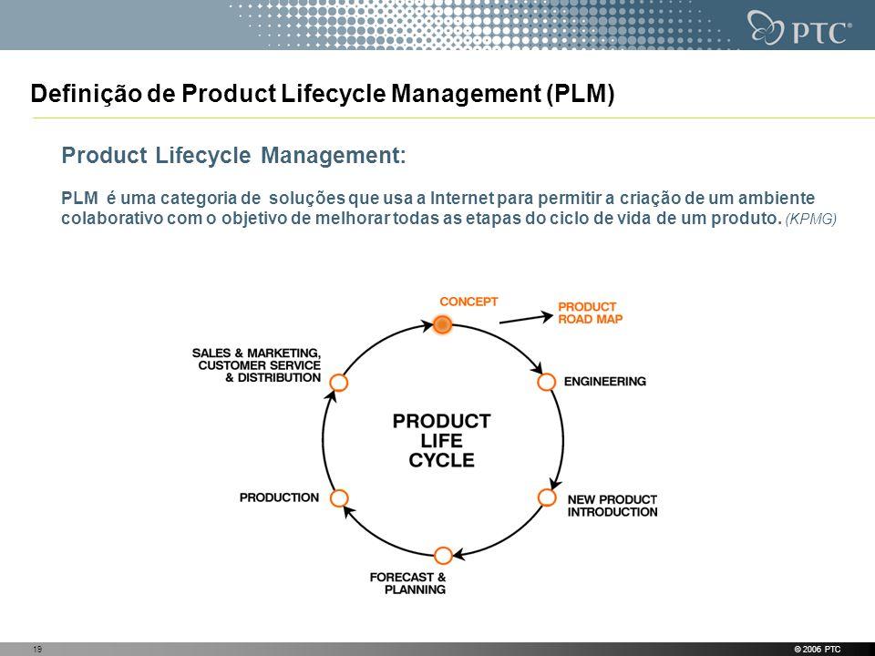 © 2006 PTC19 Definição de Product Lifecycle Management (PLM) Product Lifecycle Management: PLM é uma categoria de soluções que usa a Internet para per
