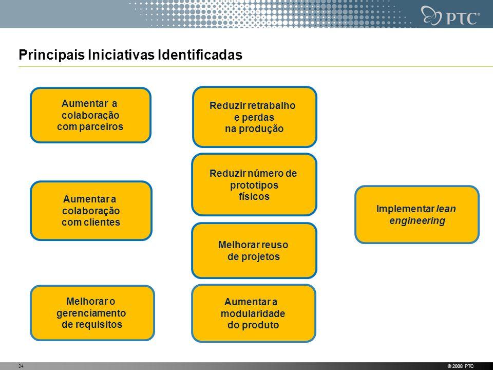 Principais Iniciativas Identificadas © 2008 PTC34 Melhorar reuso de projetos Aumentar a colaboração com clientes Aumentar a modularidade do produto Re