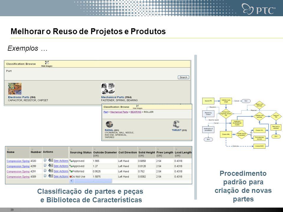 39 Melhorar o Reuso de Projetos e Produtos Exemplos … Classificação de partes e peças e Biblioteca de Características Procedimento padrão para criação