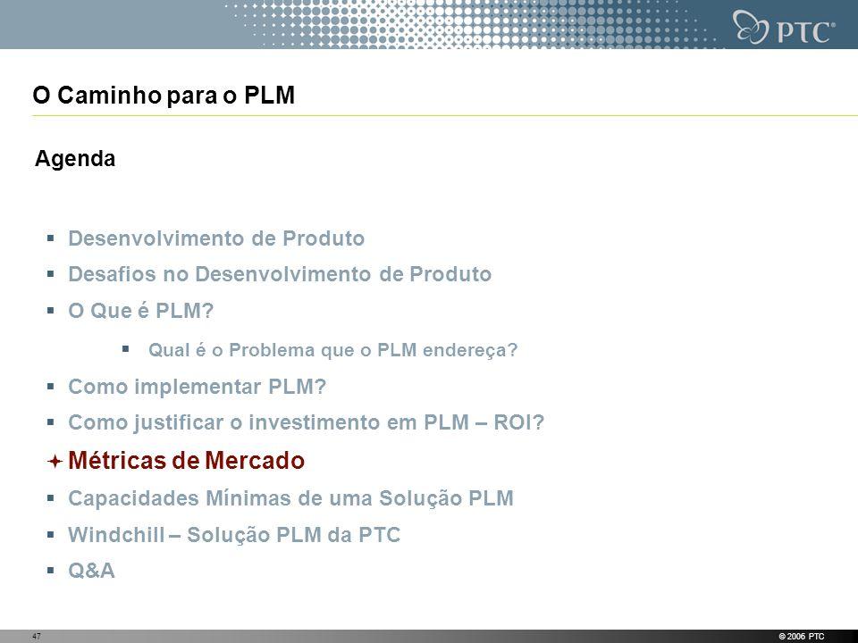 © 2006 PTC47 O Caminho para o PLM Agenda Desenvolvimento de Produto Desafios no Desenvolvimento de Produto O Que é PLM? Qual é o Problema que o PLM en