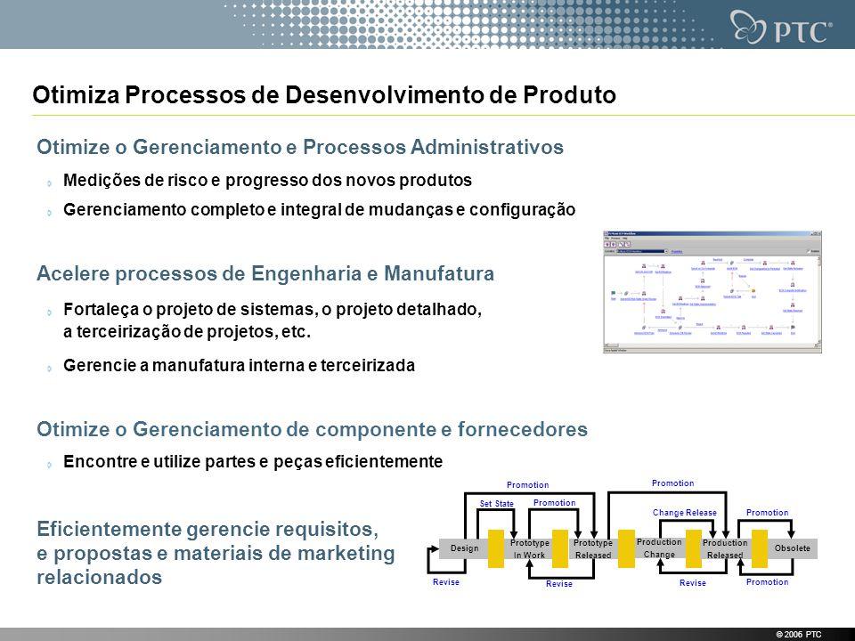 © 2006 PTC Otimiza Processos de Desenvolvimento de Produto Otimize o Gerenciamento e Processos Administrativos Medições de risco e progresso dos novos