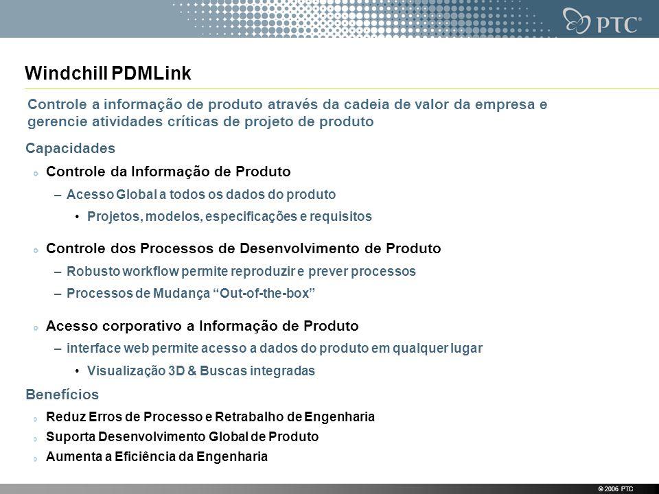 © 2006 PTC Windchill PDMLink Capacidades Controle da Informação de Produto –Acesso Global a todos os dados do produto Projetos, modelos, especificaçõe