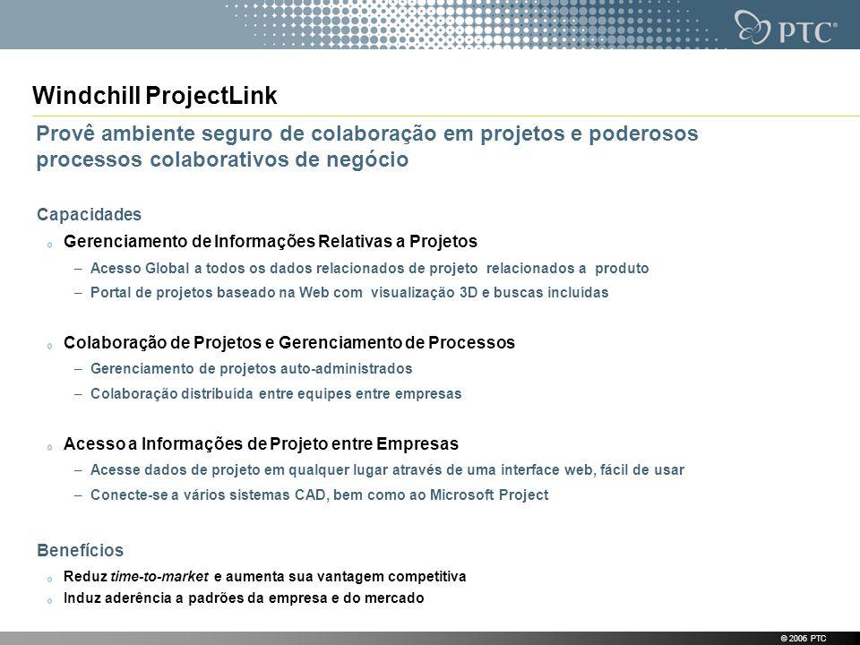 © 2006 PTC Windchill ProjectLink Capacidades Gerenciamento de Informações Relativas a Projetos –Acesso Global a todos os dados relacionados de projeto