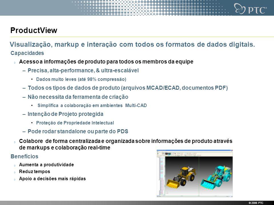 © 2006 PTC ProductView Visualização, markup e interação com todos os formatos de dados digitais. Capacidades Acesso a informações de produto para todo