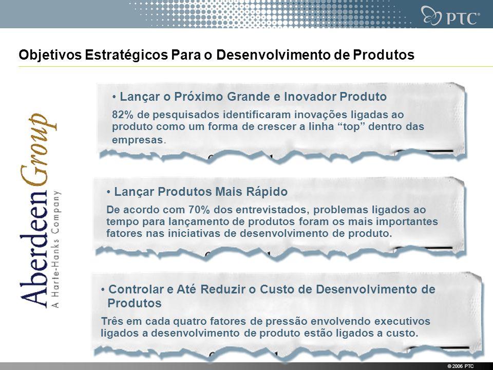 Objetivos Estratégicos Para o Desenvolvimento de Produtos © 2006 PTC Lançar o Próximo Grande e Inovador Produto 82% de pesquisados identificaram inova