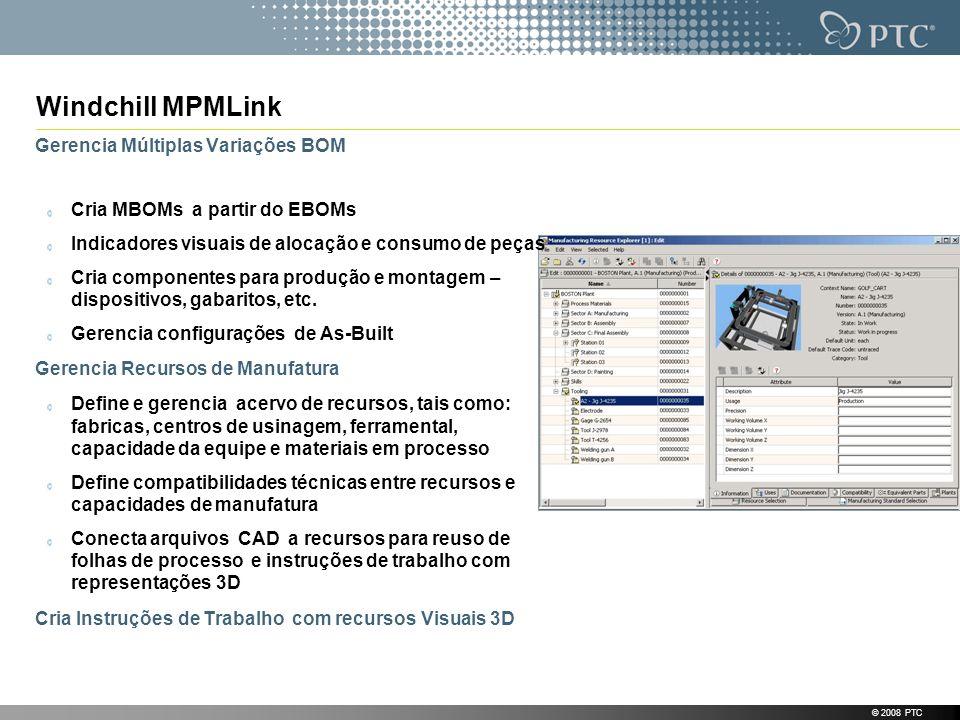 © 2008 PTC Gerencia Múltiplas Variações BOM Cria MBOMs a partir do EBOMs Indicadores visuais de alocação e consumo de peças Cria componentes para prod