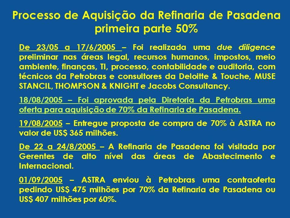 De 23/05 a 17/6/2005 – Foi realizada uma due diligence preliminar nas áreas legal, recursos humanos, impostos, meio ambiente, finanças, TI, processo, contabilidade e auditoria, com técnicos da Petrobras e consultores da Deloitte & Touche, MUSE STANCIL, THOMPSON & KNIGHT e Jacobs Consultancy.