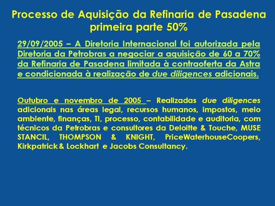 29/09/2005 – A Diretoria Internacional foi autorizada pela Diretoria da Petrobras a negociar a aquisição de 60 a 70% da Refinaria de Pasadena limitada
