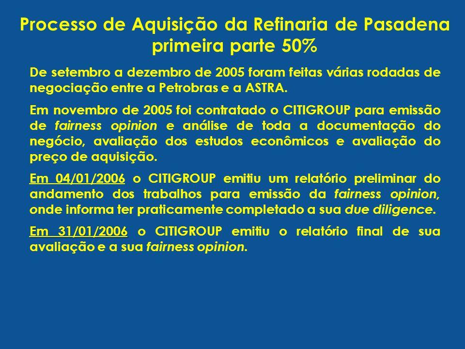 De setembro a dezembro de 2005 foram feitas várias rodadas de negociação entre a Petrobras e a ASTRA. Em novembro de 2005 foi contratado o CITIGROUP p