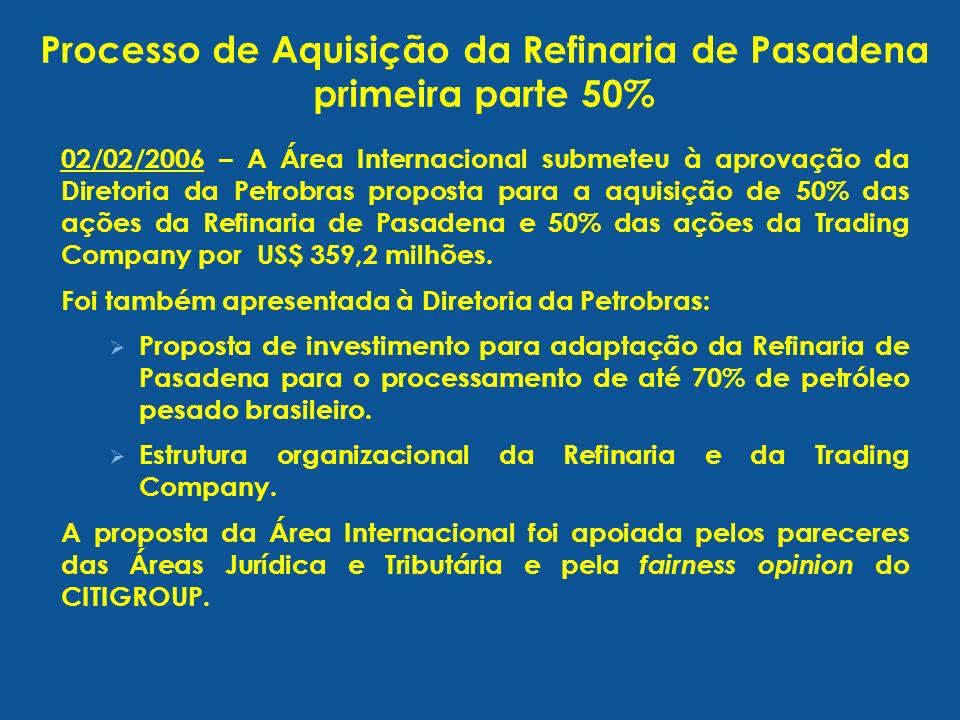 02/02/2006 – A Área Internacional submeteu à aprovação da Diretoria da Petrobras proposta para a aquisição de 50% das ações da Refinaria de Pasadena e 50% das ações da Trading Company por US$ 359,2 milhões.