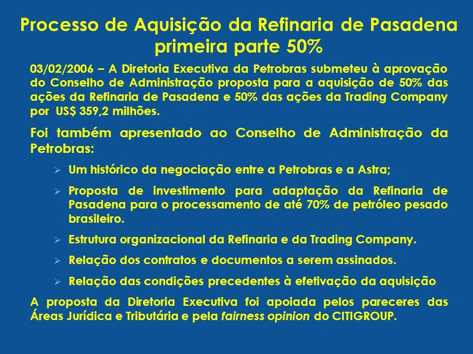 03/02/2006 – A Diretoria Executiva da Petrobras submeteu à aprovação do Conselho de Administração proposta para a aquisição de 50% das ações da Refina