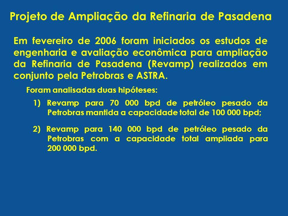 Em fevereiro de 2006 foram iniciados os estudos de engenharia e avaliação econômica para ampliação da Refinaria de Pasadena (Revamp) realizados em con