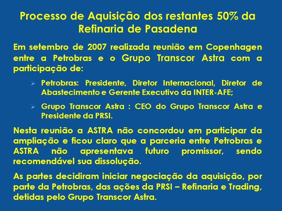 Em setembro de 2007 realizada reunião em Copenhagen entre a Petrobras e o Grupo Transcor Astra com a participação de: Petrobras: Presidente, Diretor Internacional, Diretor de Abastecimento e Gerente Executivo da INTER-AFE; Grupo Transcor Astra : CEO do Grupo Transcor Astra e Presidente da PRSI.