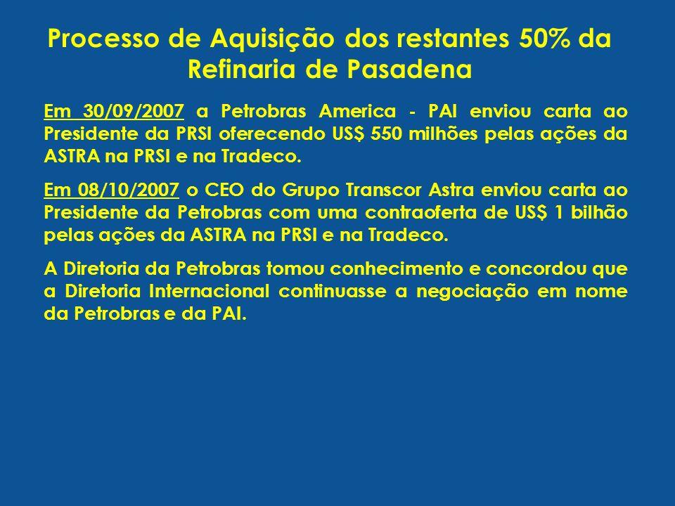 Processo de Aquisição dos restantes 50% da Refinaria de Pasadena Em 30/09/2007 a Petrobras America - PAI enviou carta ao Presidente da PRSI oferecendo US$ 550 milhões pelas ações da ASTRA na PRSI e na Tradeco.