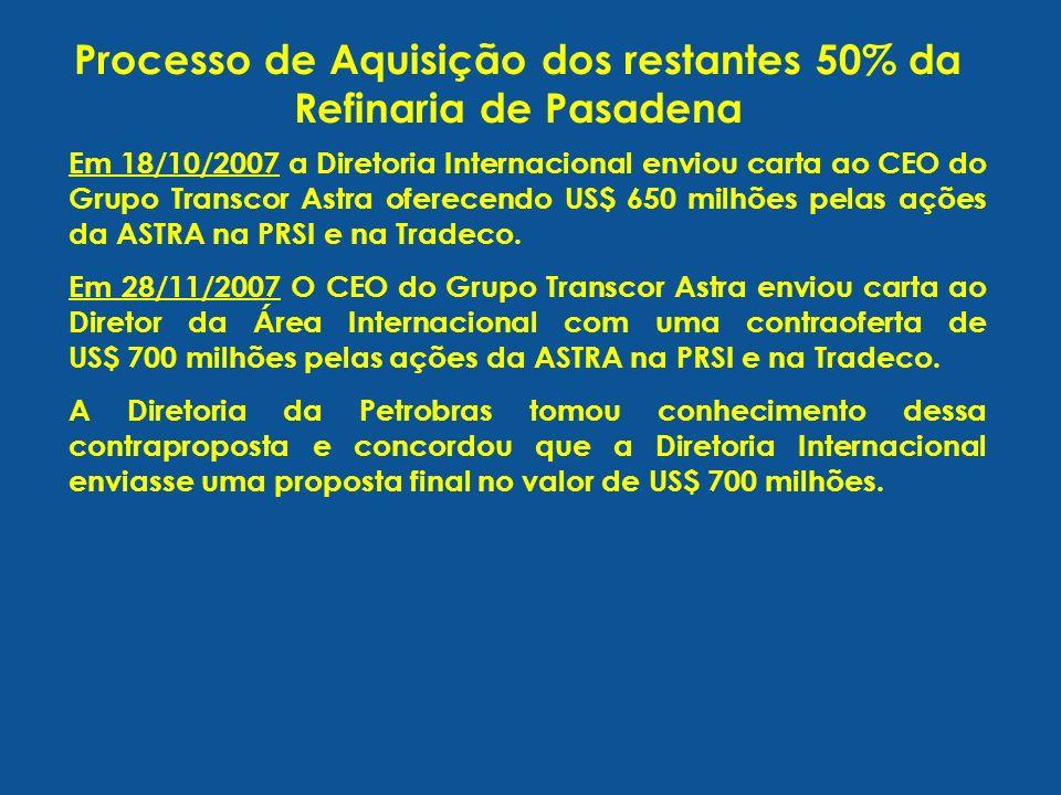 Processo de Aquisição dos restantes 50% da Refinaria de Pasadena Em 18/10/2007 a Diretoria Internacional enviou carta ao CEO do Grupo Transcor Astra o