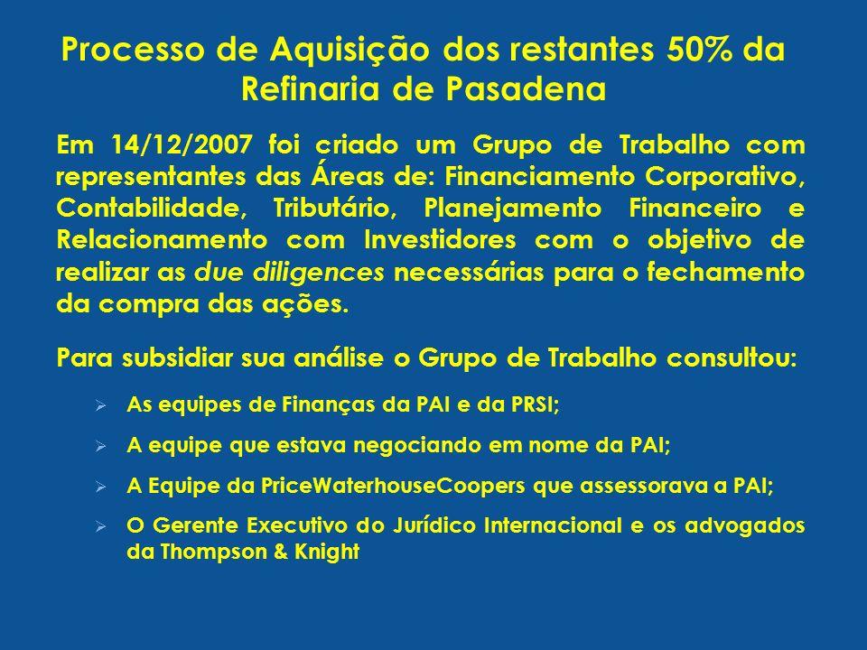 Processo de Aquisição dos restantes 50% da Refinaria de Pasadena Em 14/12/2007 foi criado um Grupo de Trabalho com representantes das Áreas de: Financ