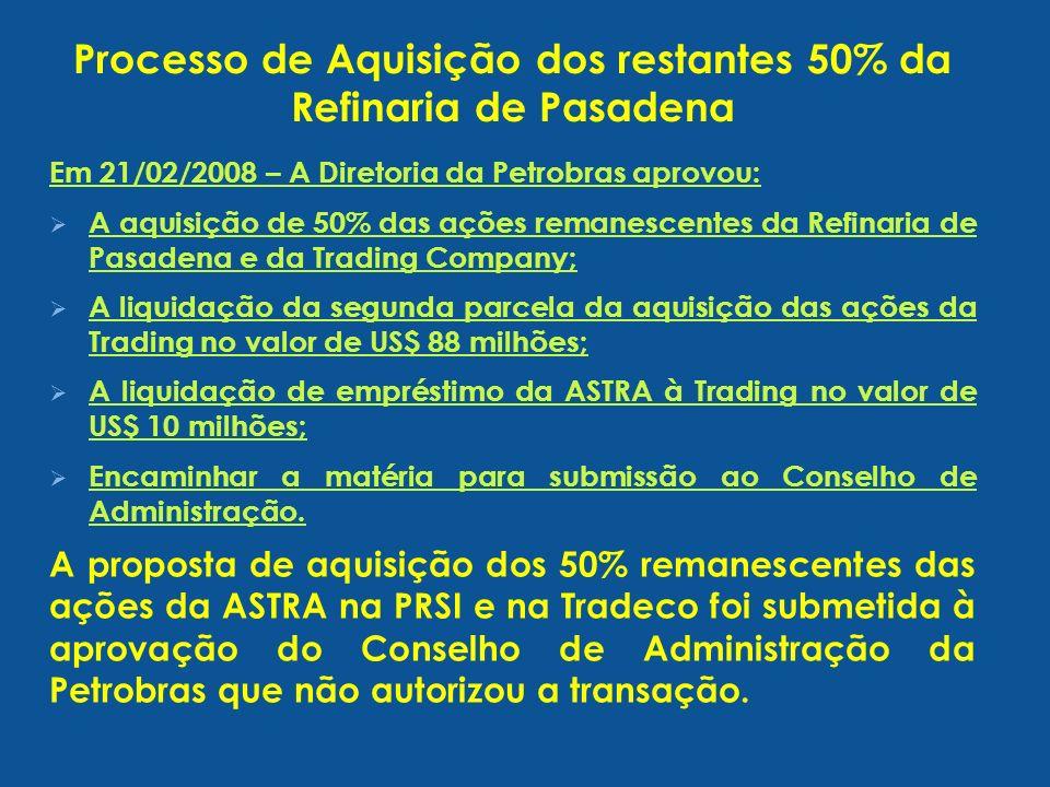 Processo de Aquisição dos restantes 50% da Refinaria de Pasadena Em 21/02/2008 – A Diretoria da Petrobras aprovou: A aquisição de 50% das ações remane