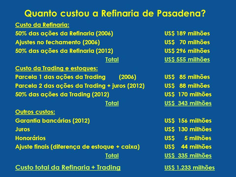 Custo da Refinaria: 50% das ações da Refinaria (2006)US$ 189 milhões Ajustes no fechamento (2006)US$ 70 milhões 50% das ações da Refinaria (2012)US$ 296 milhões TotalUS$ 555 milhões Custo da Trading e estoques: Parcela 1 das ações da Trading (2006)US$ 85 milhões Parcela 2 das ações da Trading + juros (2012)US$ 88 milhões 50% das ações da Trading (2012)US$ 170 milhões TotalUS$ 343 milhões Outros custos: Garantia bancárias (2012)US$ 156 milhões JurosUS$ 130 milhões HonoráriosUS$ 5 milhões Ajuste finais (diferença de estoque + caixa)US$ 44 milhões TotalUS$ 335 milhões Custo total da Refinaria + Trading US$ 1.233 milhões