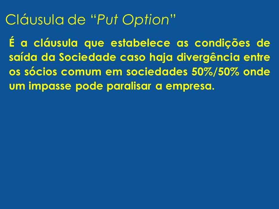 É a cláusula que estabelece as condições de saída da Sociedade caso haja divergência entre os sócios comum em sociedades 50%/50% onde um impasse pode paralisar a empresa.