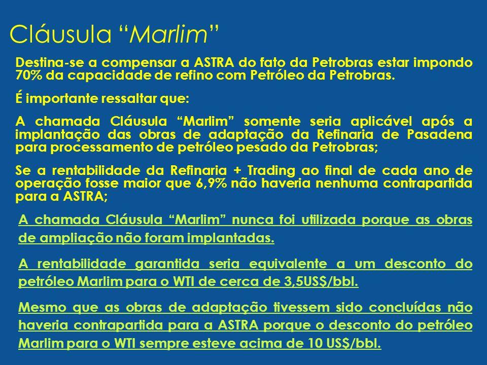 Destina-se a compensar a ASTRA do fato da Petrobras estar impondo 70% da capacidade de refino com Petróleo da Petrobras. É importante ressaltar que: A