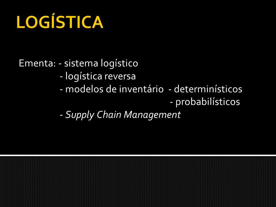Ementa: - sistema logístico - logística reversa - modelos de inventário - determinísticos - probabilísticos - Supply Chain Management