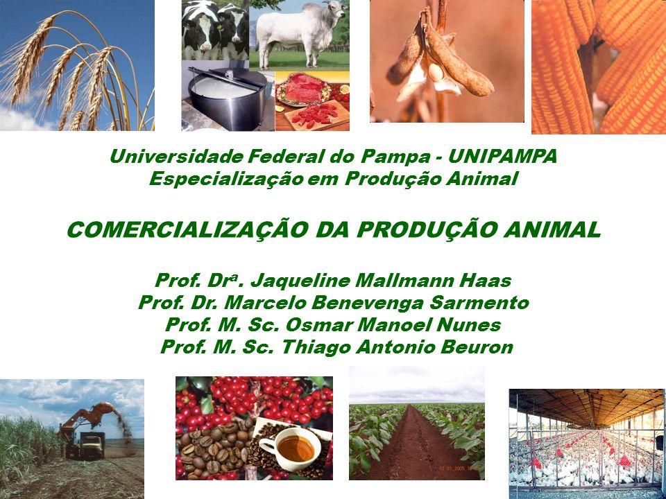 Universidade Federal do Pampa - UNIPAMPA Especialização em Produção Animal COMERCIALIZAÇÃO DA PRODUÇÃO ANIMAL Prof. Dr a. Jaqueline Mallmann Haas Prof