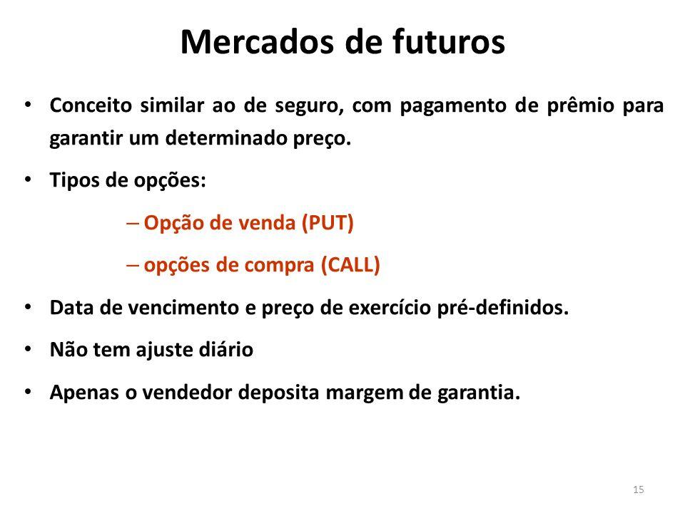 Mercados de futuros 15 Conceito similar ao de seguro, com pagamento de prêmio para garantir um determinado preço. Tipos de opções: – Opção de venda (P
