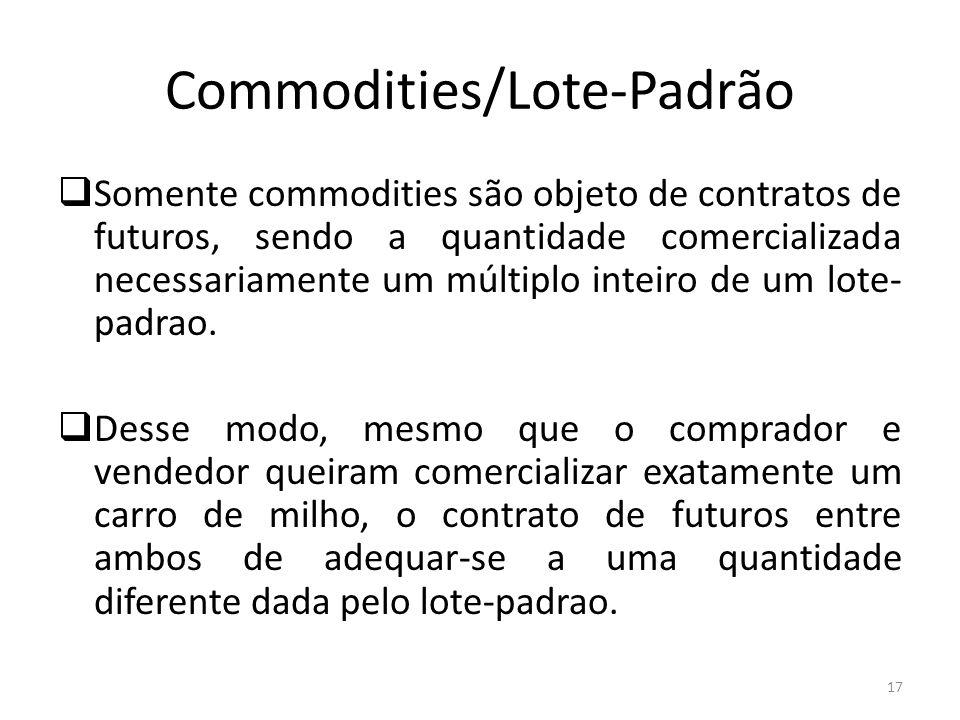 Commodities/Lote-Padrão Somente commodities são objeto de contratos de futuros, sendo a quantidade comercializada necessariamente um múltiplo inteiro