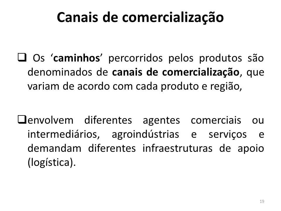 Canais de comercialização Os caminhos percorridos pelos produtos são denominados de canais de comercialização, que variam de acordo com cada produto e