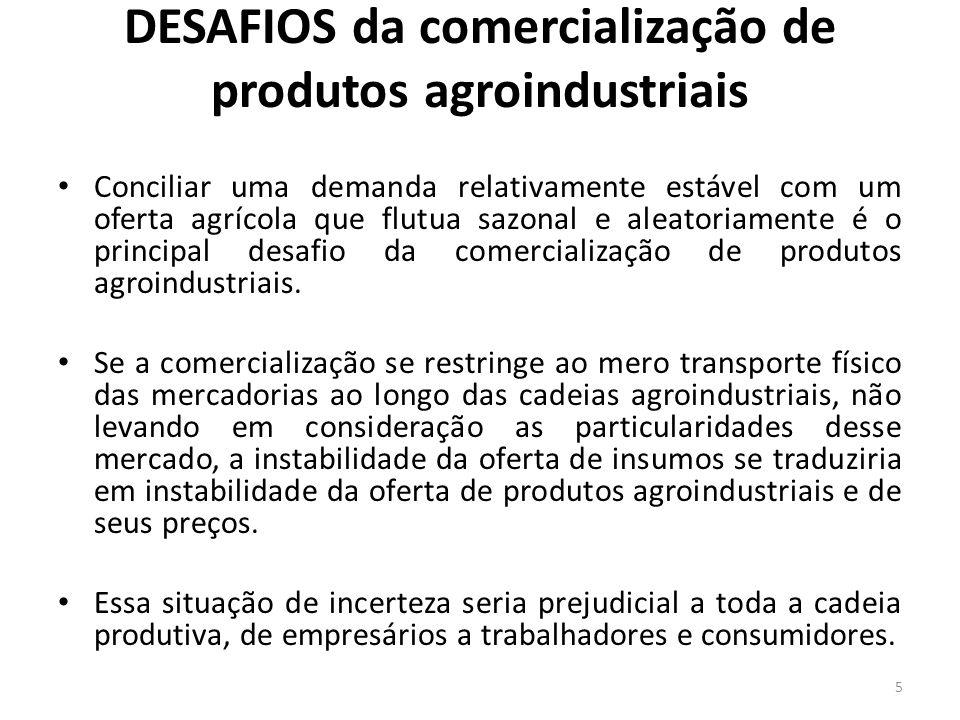 DESAFIOS da comercialização de produtos agroindustriais Conciliar uma demanda relativamente estável com um oferta agrícola que flutua sazonal e aleato