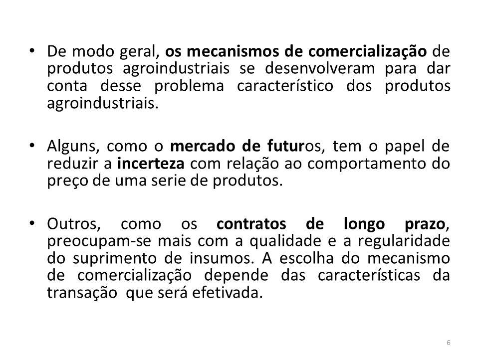 De modo geral, os mecanismos de comercialização de produtos agroindustriais se desenvolveram para dar conta desse problema característico dos produtos