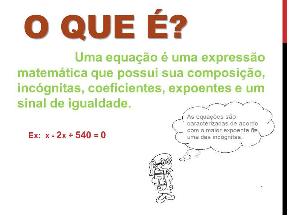 O QUE É? Uma equação é uma expressão matemática que possui sua composição, incógnitas, coeficientes, expoentes e um sinal de igualdade. Ex: x - 2 x +