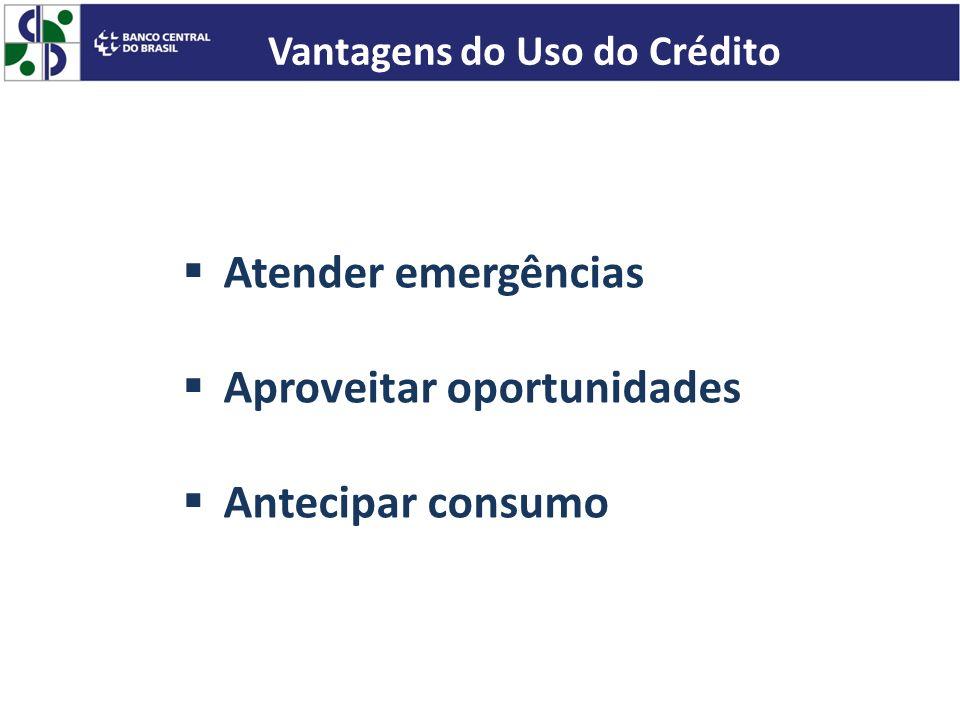 Atender emergências Aproveitar oportunidades Antecipar consumo Vantagens do Uso do Crédito