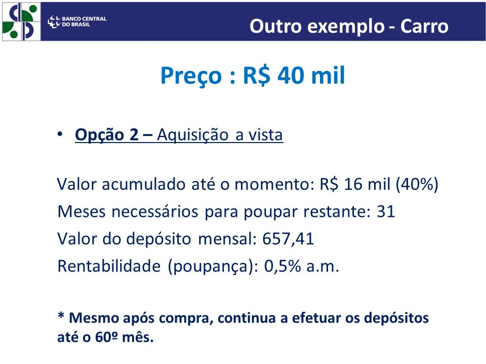 Preço : R$ 40 mil Opção 2 – Aquisição a vista Valor acumulado até o momento: R$ 16 mil (40%) Meses necessários para poupar restante: 31 Valor do depós