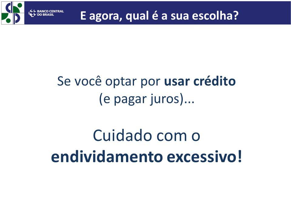 Se você optar por usar crédito (e pagar juros)... Cuidado com o endividamento excessivo! E agora, qual é a sua escolha?