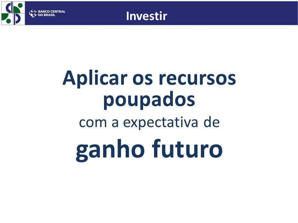 Aplicar os recursos poupados com a expectativa de ganho futuro Investir