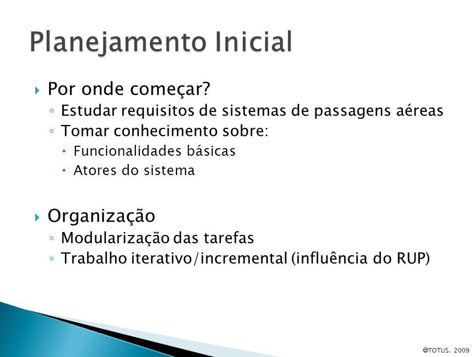 TOTUS. 2009 Por onde começar? Estudar requisitos de sistemas de passagens aéreas Tomar conhecimento sobre: Funcionalidades básicas Atores do sistema O