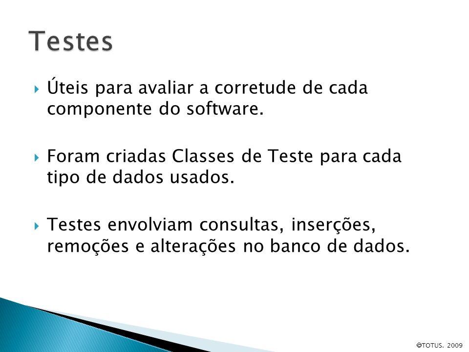Úteis para avaliar a corretude de cada componente do software. Foram criadas Classes de Teste para cada tipo de dados usados. Testes envolviam consult