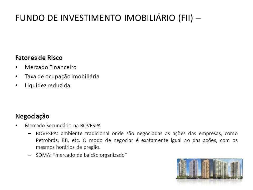 FUNDO DE INVESTIMENTO IMOBILIÁRIO (FII) – Fatores de Risco Mercado Financeiro Taxa de ocupação imobiliária Liquidez reduzida Negociação Mercado Secund