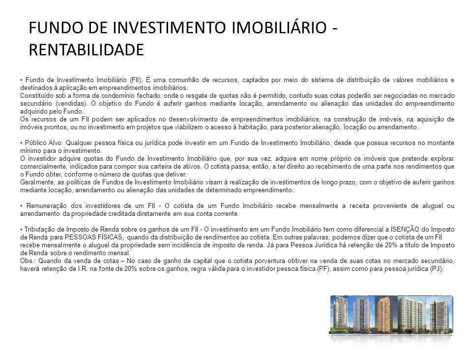 Fundo de Investimento Imobiliário (FII): É uma comunhão de recursos, captados por meio do sistema de distribuição de valores mobiliários e destinados
