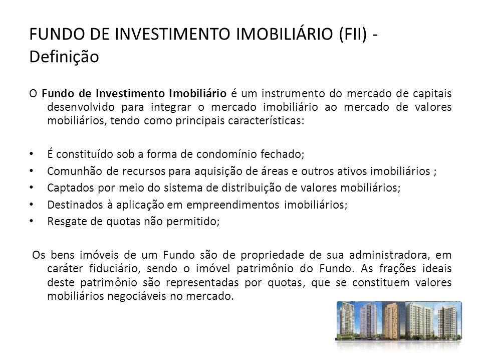 FUNDO DE INVESTIMENTO IMOBILIÁRIO (FII) - Definição O Fundo de Investimento Imobiliário é um instrumento do mercado de capitais desenvolvido para inte